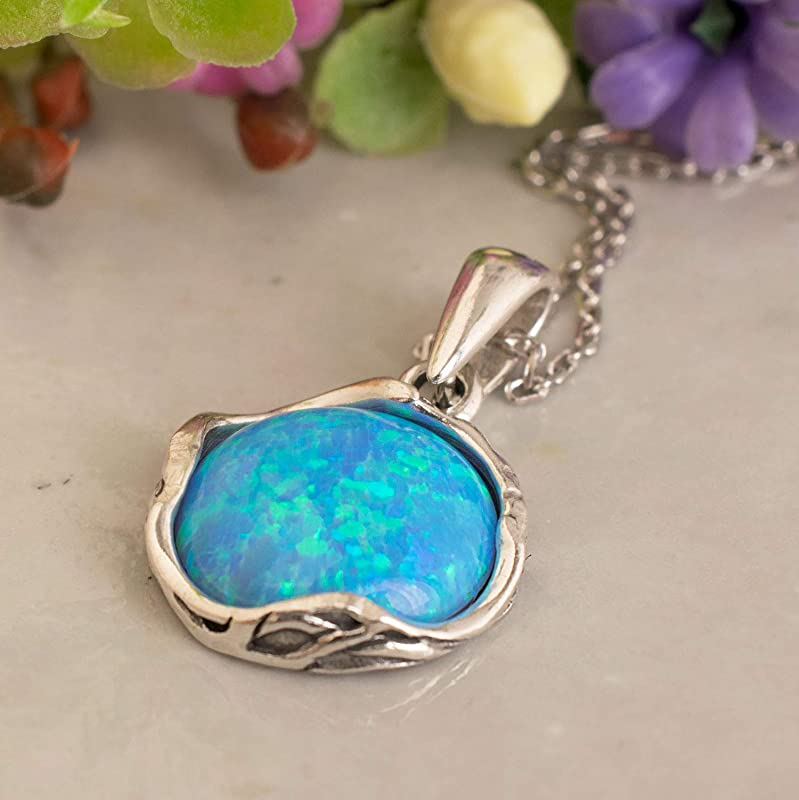 Aqua Blue Opal Polar Star Necklace  925 Sterling Silver North Star Necklace  18k Rose Gold Plated  Opal Necklace