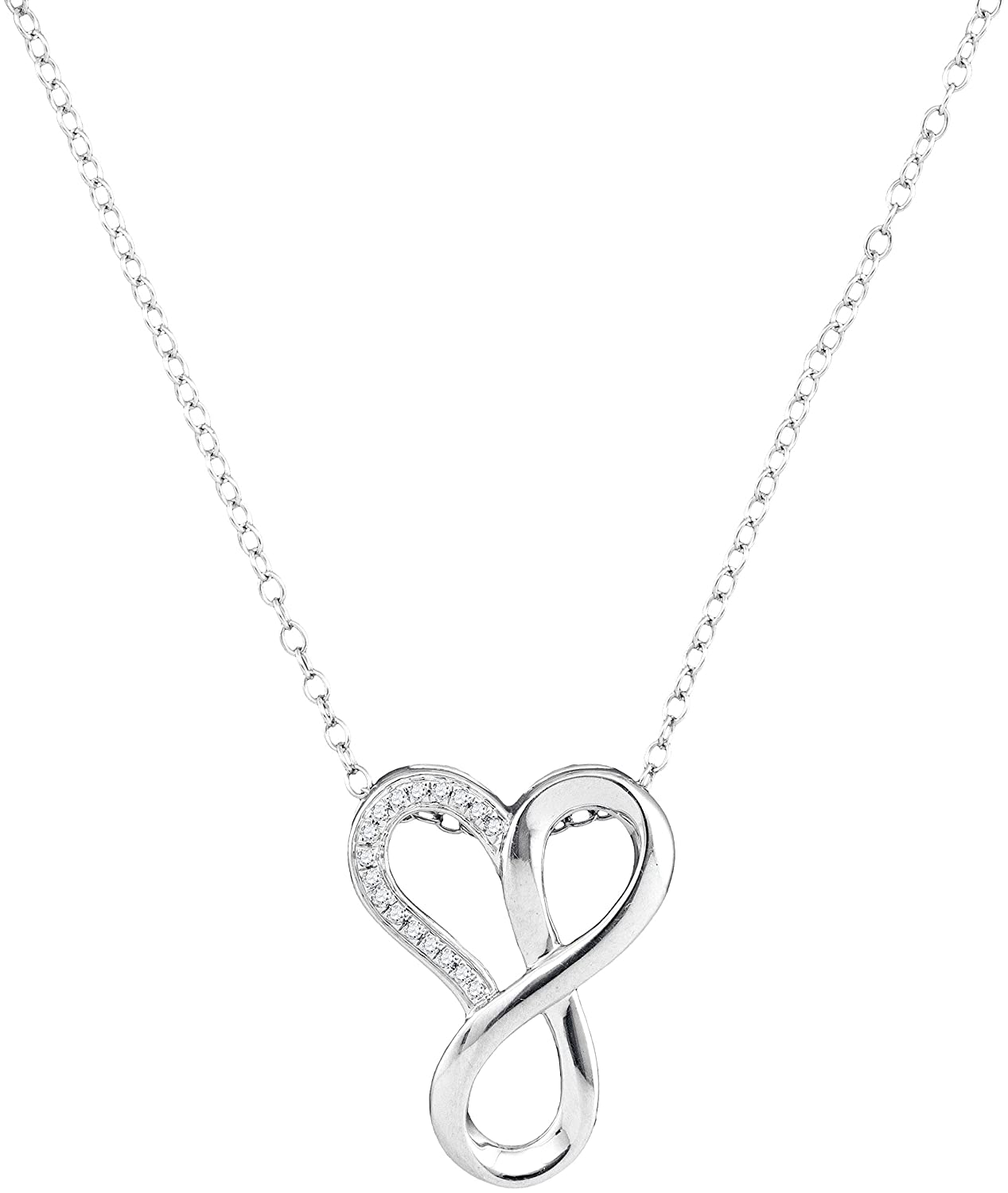 10kt White gold Womens Round Diamond Heart Infinity Pendant Necklace 1 20 Cttw