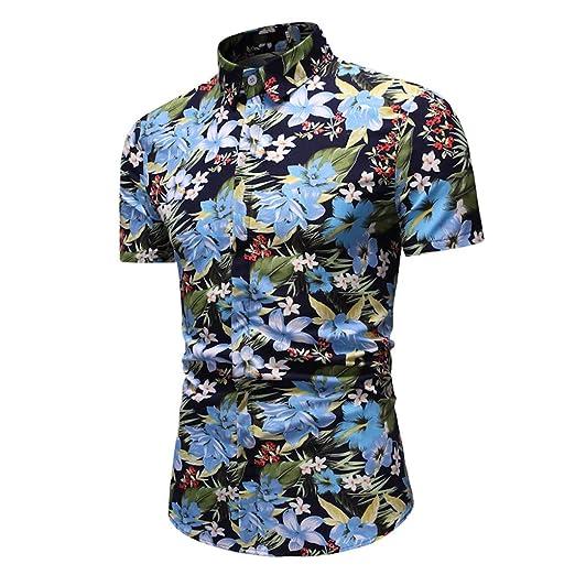 NnuoeN☀ Camisa Informal de Manga Larga Estampada para Hombre de ...