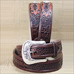 Tony Lama Mens Caiman Print Leather Belt Reg And Big Brown 34