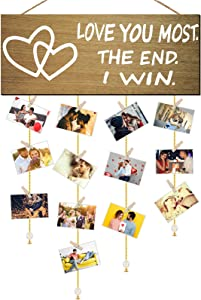 Valentine's Day Wooden Hanging Photo Holder with Clips and Golden Chains Love You Most The End I Win Romantic Couples Family Photo Frame Display Hanging Farmhouse Wall Sign Decor, 15.7 x 6.3 Inch