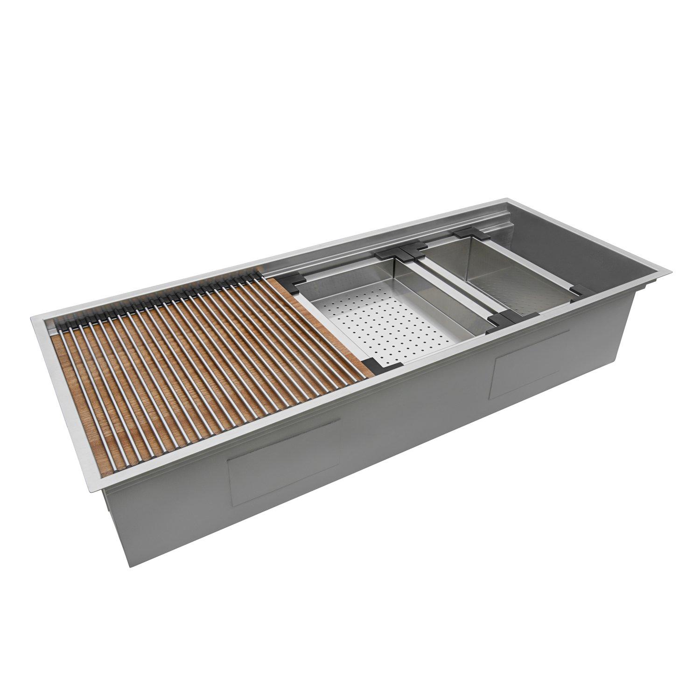 ruvati 45 workstation two tiered ledge kitchen sink 16 gauge