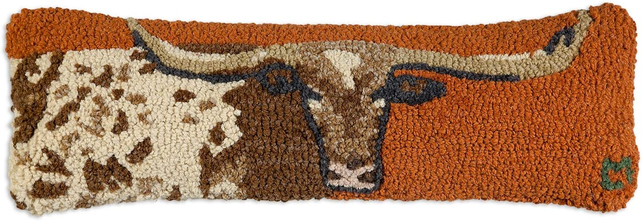 Chandler 4 Corners Artist-Designed Longhorn Hand-Hooked Wool Decorative Throw Pillow 8 x 24