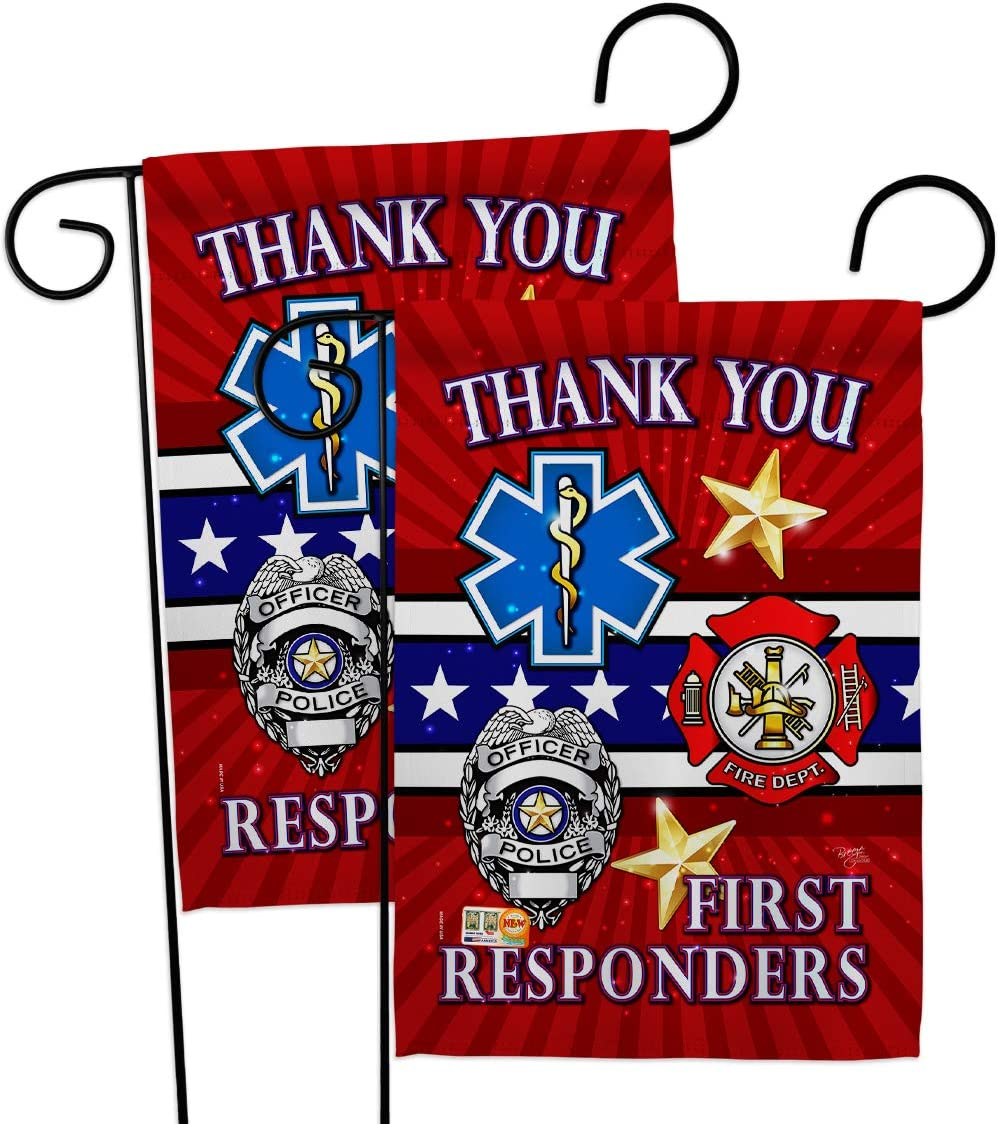 First Responders Garden Flag - 2pcs Pack Armed Forces Service All Branches Support Honor United State American Military Veteran Official - House Banner Small Yard Gift Double-Sided 13 X 18.5