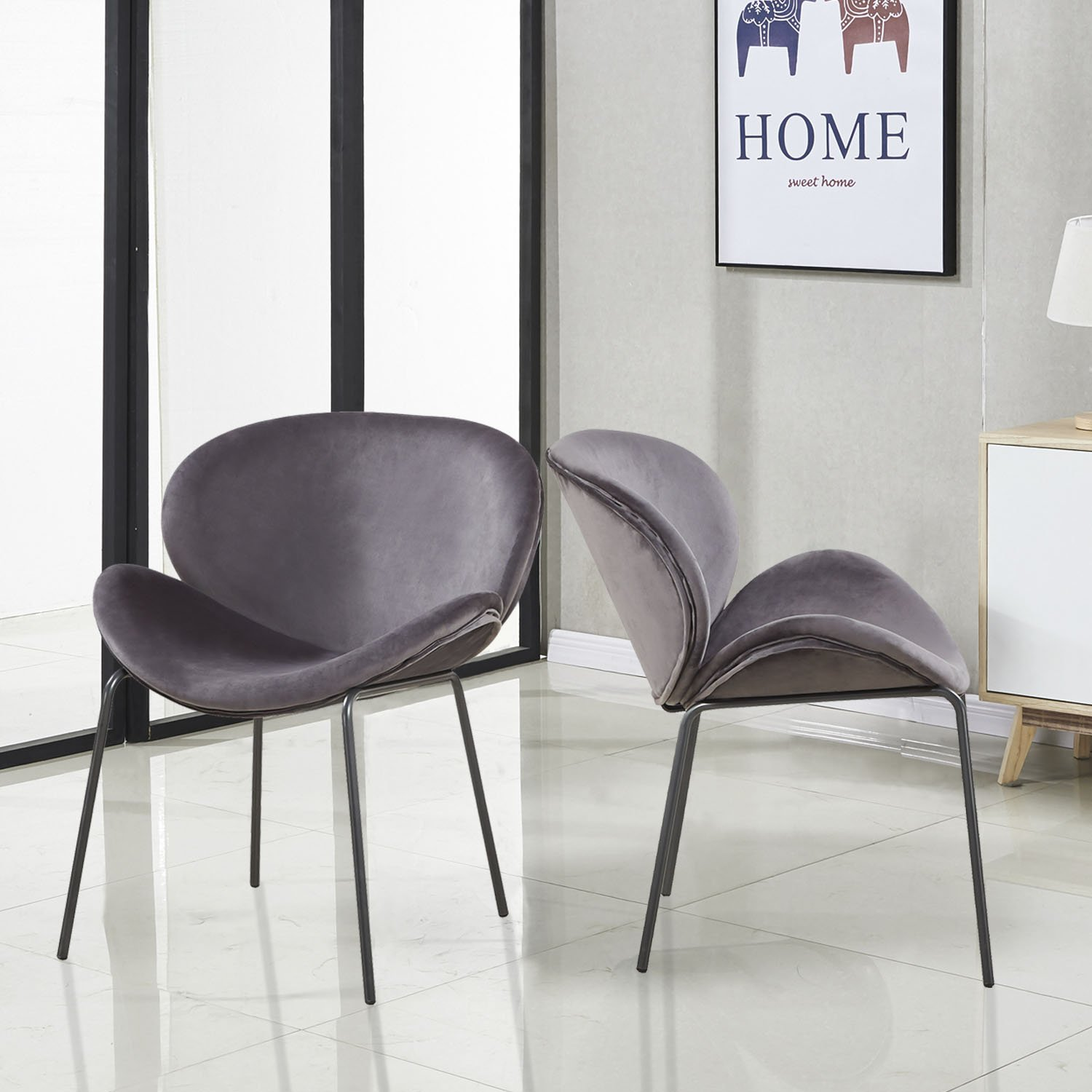 GreenForest Dining Chairs Modern Large Velvet Fabric Shell Chairs for Kitchen Living Room Leisure Chairs for Bedroom Set of 2, Grey