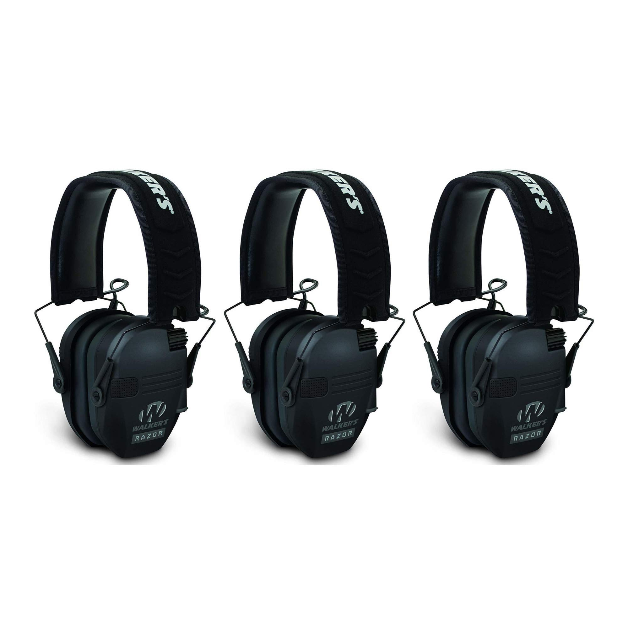 Walkers Razor Slim Electronic Shooting Muffs 3-Pack Bundle, Black by Walker's Game Ear