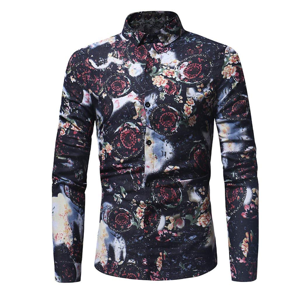 GouuoHi Men Casual Mens Fashion Fashion Personality Casual Slim Long Sleeve Floral Printed Shirt Top Blouse Stand Collar with Button Price Reduction Limited Color : Schwarz16, Size : 3XL