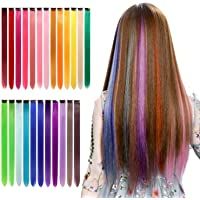 Qingjun Colored Clip in Hair Extensions 22inch Rainbow Heat-Resistant Straight Hairpieces Cospaly Fashion Party Kids…