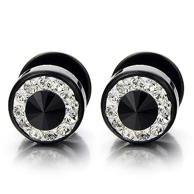 Mens Womens White Black Stud Earrings Steel Illusion Tunnel Plug Screw Back with Black Cubic Zirconia 33AxaQxO