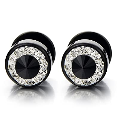 51971643a Amazon.com: 8mm Mens Black Stud Earrings Stainless Steel Illusion Tunnel  Plug Screw Back with Cubic Zirconia, 2pcs: Jewelry