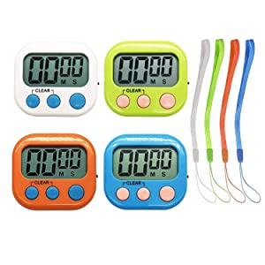 Kitchen Timers Clock with Big Digits Loud Alarm Magnetic Backing and Stand with Large LCD Display for Cooking Baking (4 Pack, 4 Color)