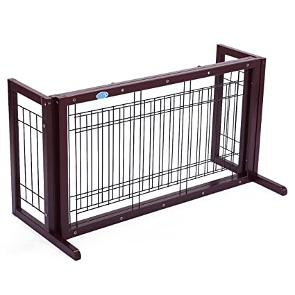 Beau JAXPETY Pet Fence Gate Free Standing Adjustable Dog Gate Indoor Solid Wood  Construction (Solid Wood