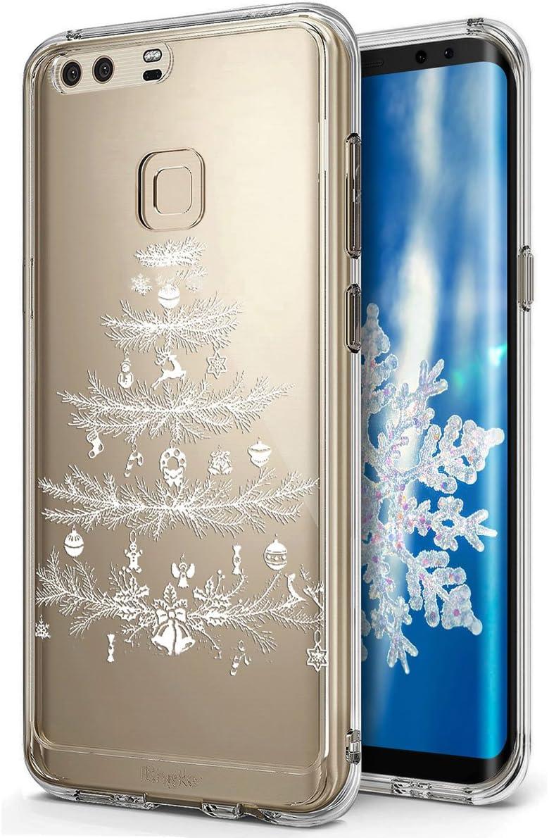 Huawei P9 Plus funda, Huawei P9 Plus caso Navidad, ikasus Xmas Navidad copo de nieve serie, suave silicona caso de goma, Crystal CLARO suave claro funda carcasa de silicona para Huawei P9