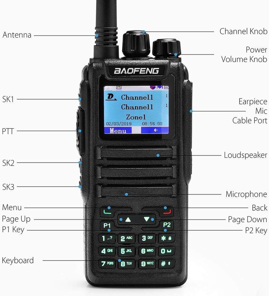 Baofeng DM-1701 Tier II Digital Analog /& DMR Two Way Radio V//UHF Walkie Talkie