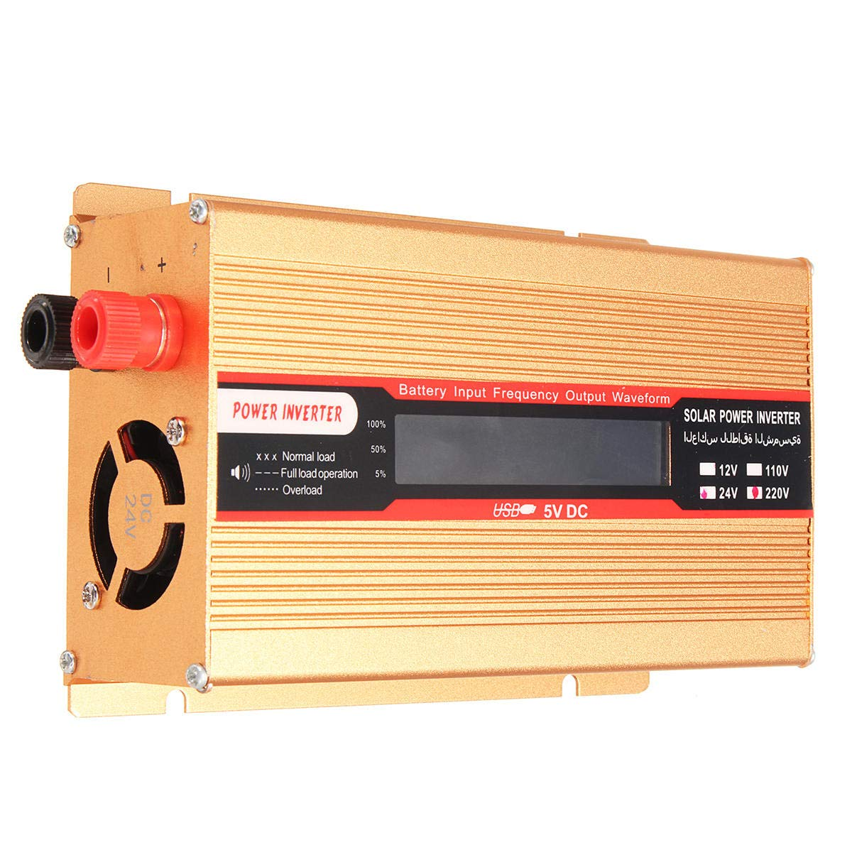 Anddoa DC 12V/24V to AC 220V/110V 1000W Solar Power Inverter Modified Sine Wave LCD Voltage Display - 24V-110V