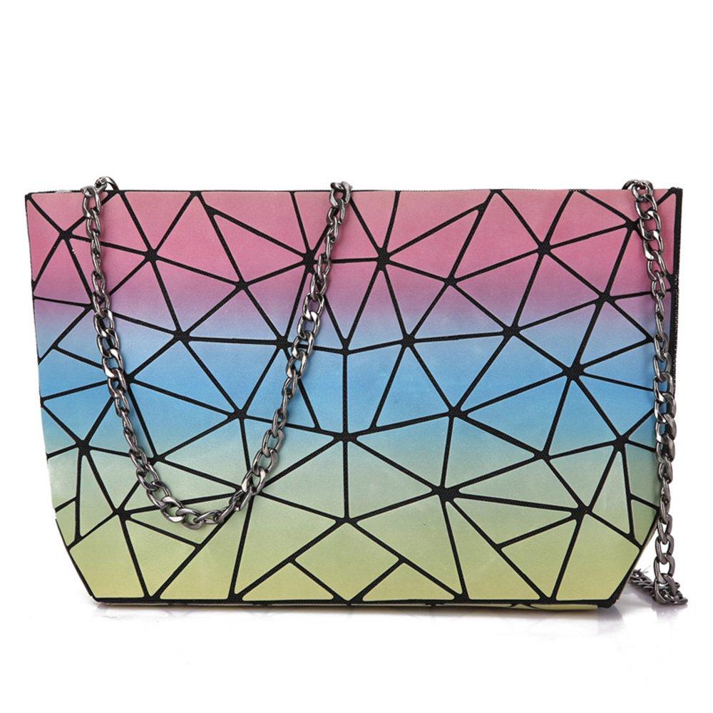 Bi-Burning Rainbow Geometric Shoulder Bag Plaid Hologram Handbag Party Purse Women