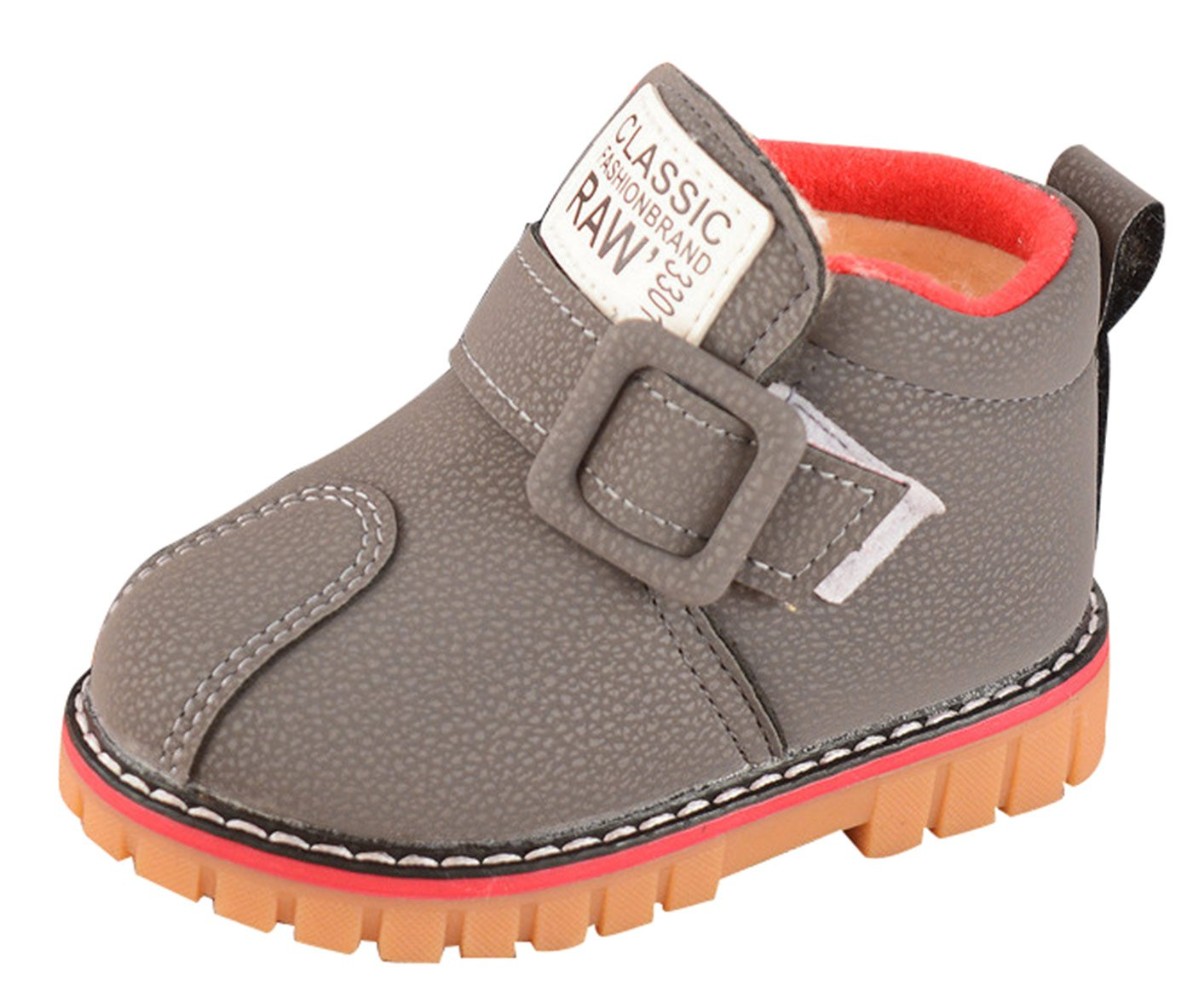 Fashion Baby Casual Shoes Boy Girl Martin Wearable Sneaker Hook&Loop Thicken Short Boots Size 23 Grey