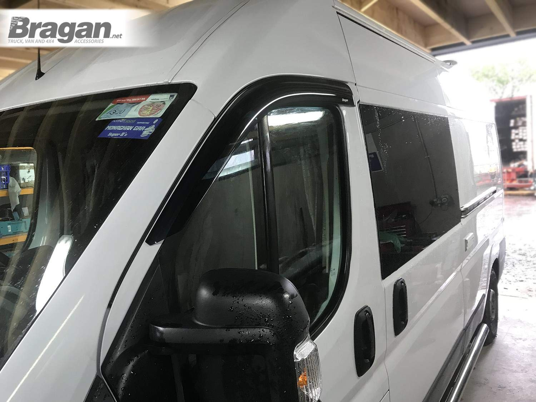 Bragan BRAH3214 Truck Van SUV Window Deflectors Sun Rain Wind Sunshield Protector Smoked Tinted Acrylic Fitting Kit