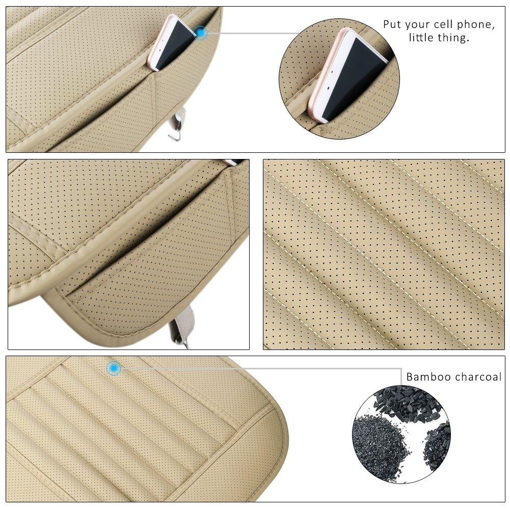 Cojines de asiento de coche Cubiertas de asiento de coche de bamb/ú del carb/ón de le/ña con el coj/ín interior del asiento de cuero de la PU Por Fashionapple negro