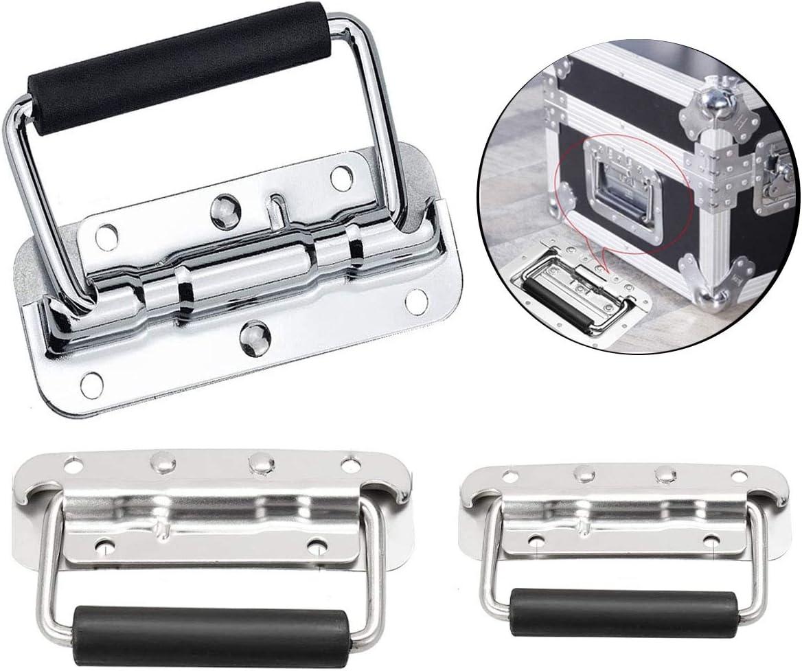 Xumier 3pcs plegable Tirador inoxidable Con mango de pvc negro Caja de herramientas de acero inoxidable 304Tiradores Asa De Cofre Para Tirar De Tono 100 mm,110 mm,120 mm