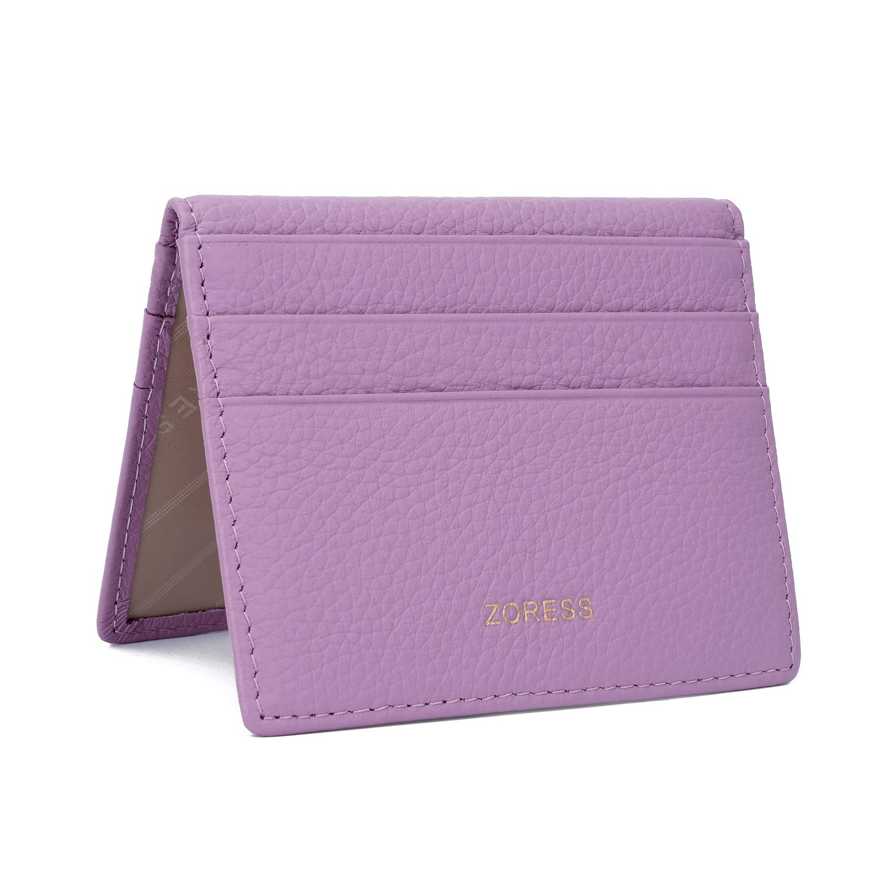 ZORESS Womens Leather RFID Blocking Slim Credit Card Case Holder Travel Front Pocket Wallet (Purple)