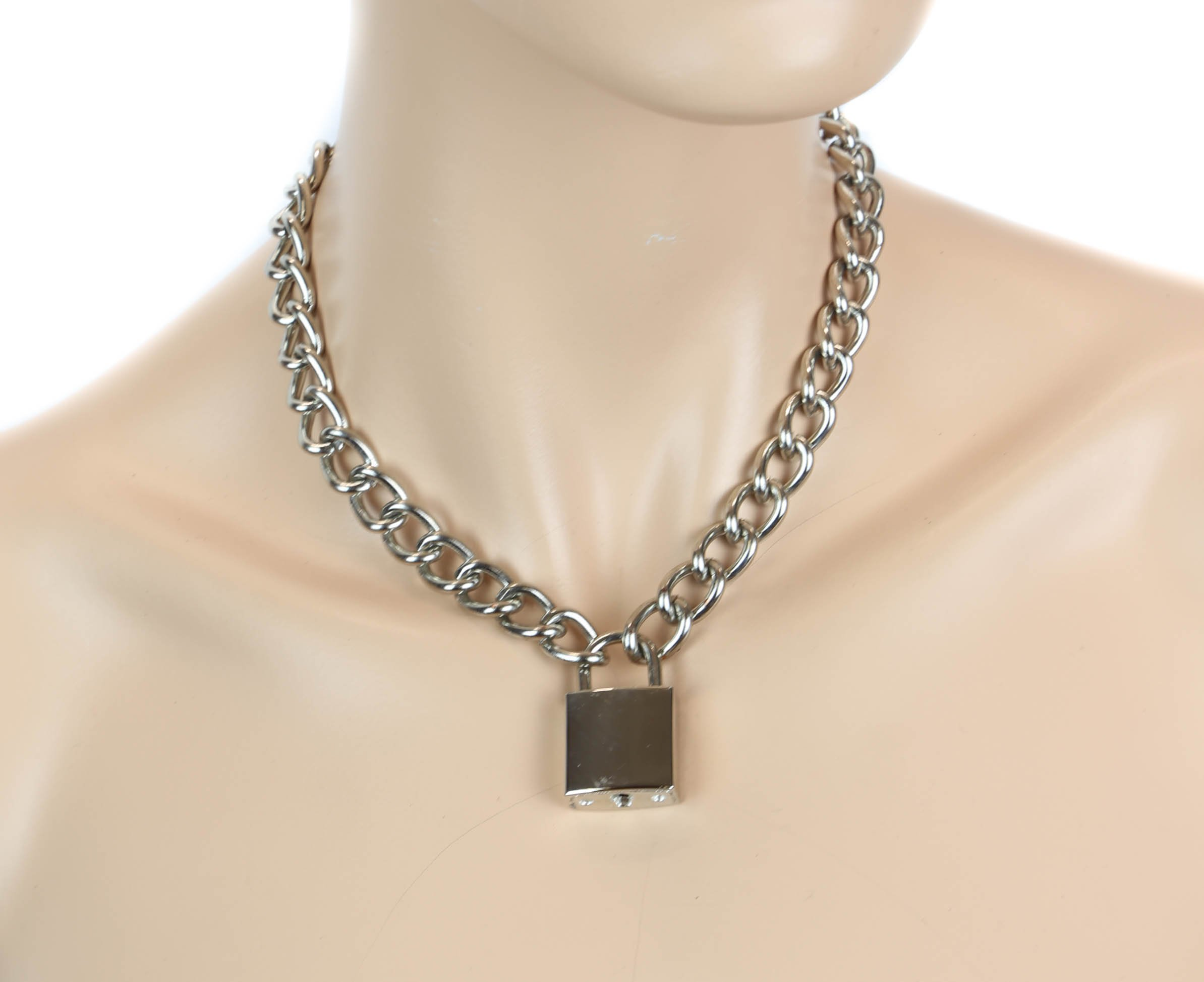 Silver Pad Lock Gothic Necklace Pendant Regular Chain Real Lock