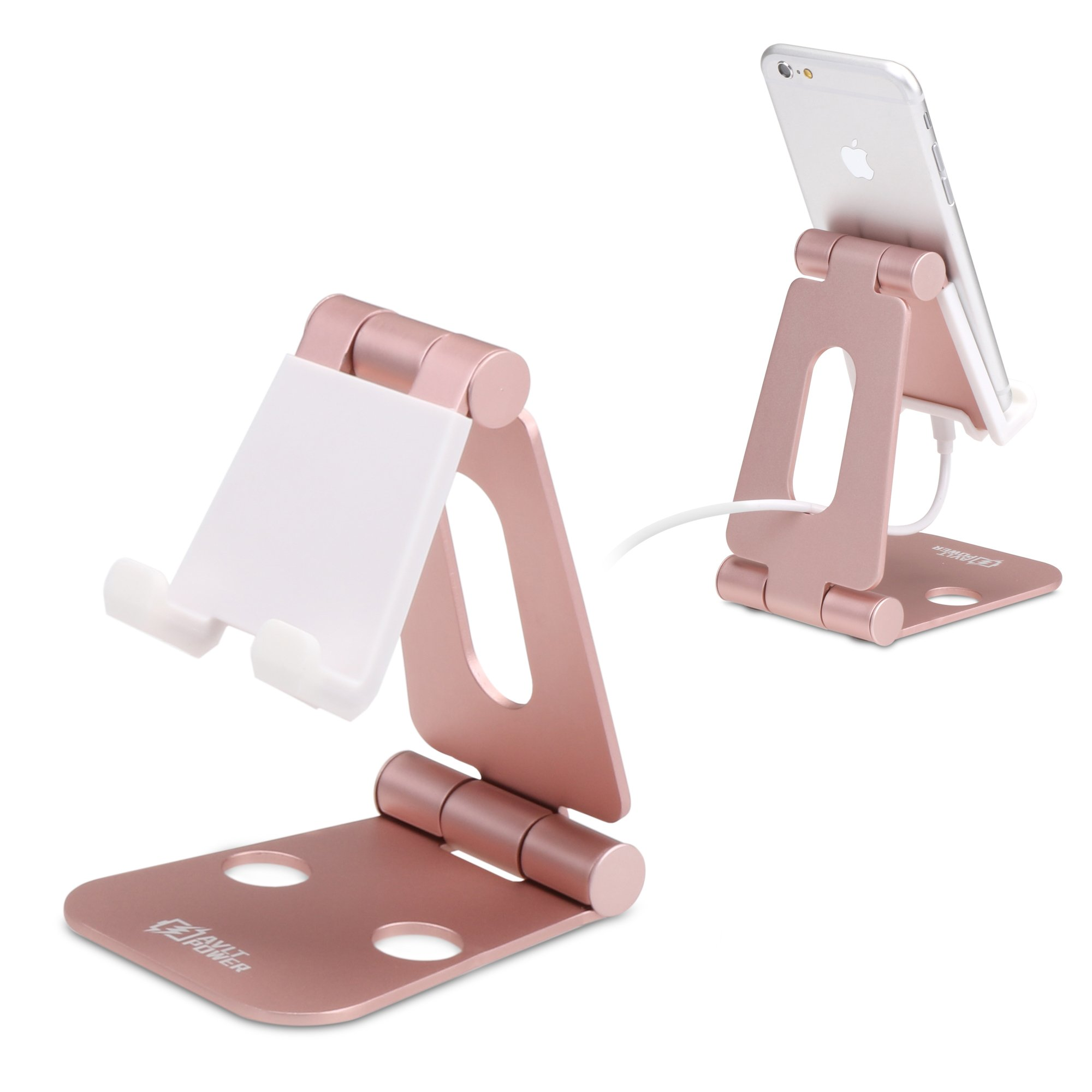 Sturdy Aluminum Phone Stand, AVLT-Power Foldable Multi Angle Phone and Tablet Holder- Portable & Adjustable Stand for Nintendo Switch, iPhone 7 6 Plus 5 5c, iPad & More by AVLT-Power (Image #1)