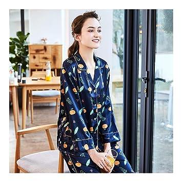 HAOLIEQUAN Pijamas Mujeres Satén Seda Pijama Primavera Otoño Pantalones De Manga Completa 2 Piezas Conjuntos De
