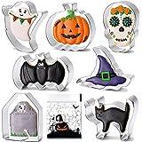 BakingWorld Halloween Cookie Cutter Set - 7 Piece - Pumpkin Cat Witch Hat Bat Ghostand Skull and Tombstone Shapes Biscuit Fon