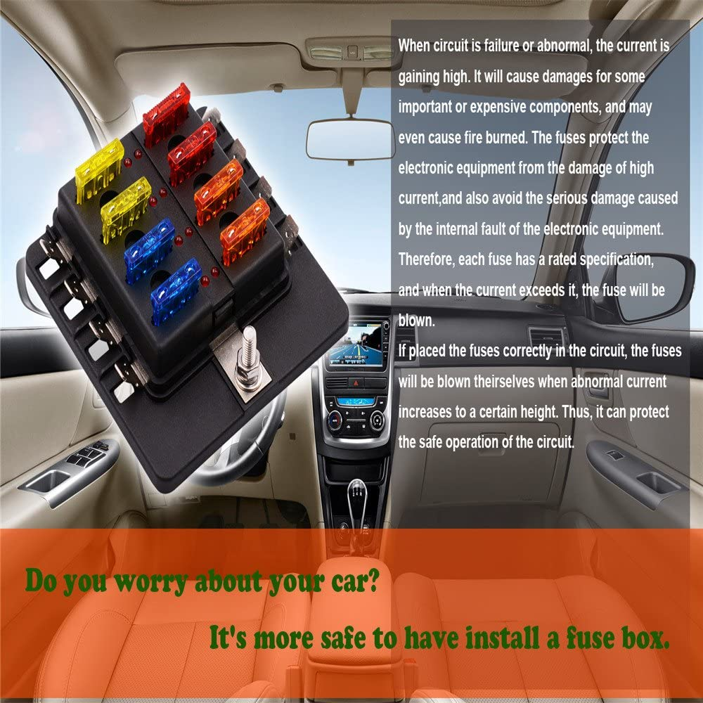 Fuse Block,8 Way Blade Fuse Box Holder with LED Warning Light Kit for Automotive Car Marine Boat,5A 10A 15A 20A Free Fuses Led Indicator Waterproof Cover for Car Boat Marine Trike