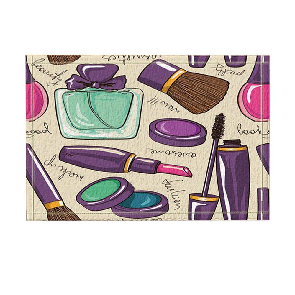 KOTOM Cosmetic and Make Up Decor, Perfume and Lipstick Nail Polish Brush for Girl Bath Rugs, Non-Slip Doormat Floor Entryways Indoor Front Door Mat, Kids Bath Mat, 15.7x23.6in, Bathroom Accessories