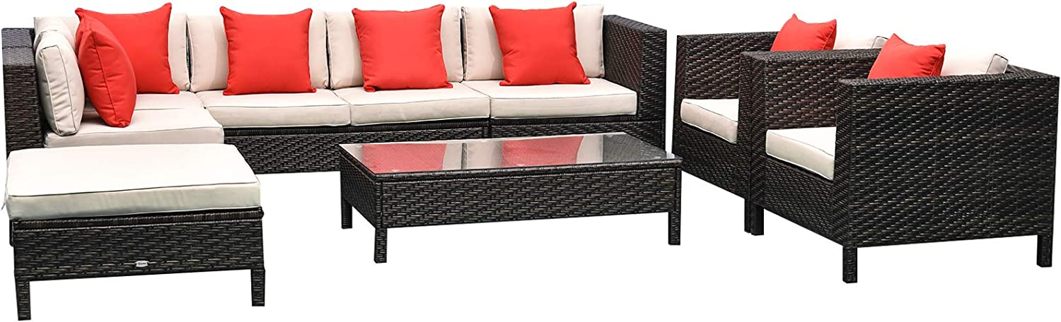 Outsunny 9pc Rattan Wicker Furniture Lounger Set Sectional Sofa Table Chair w//Cushions