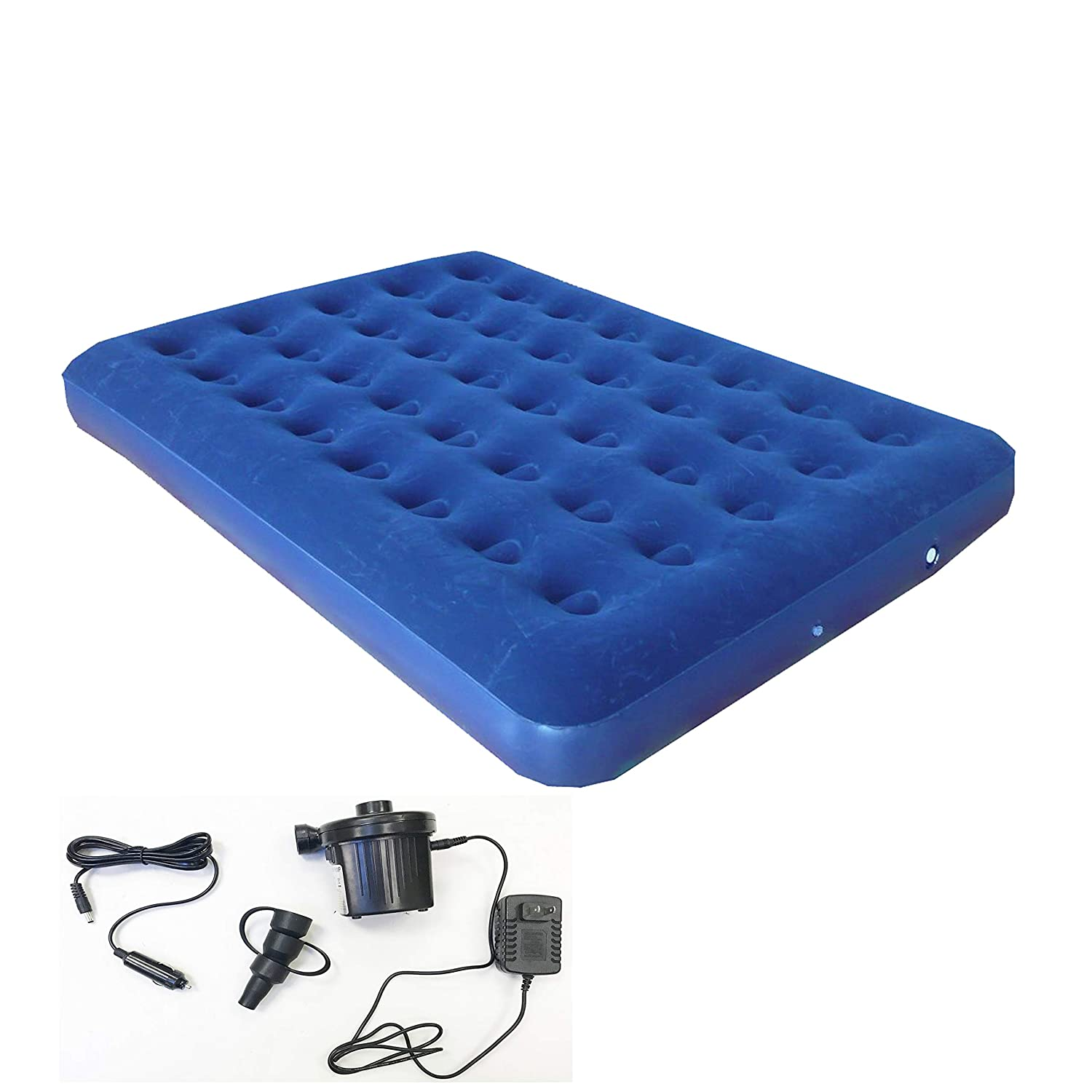Combo Including Both Car Charge and Wall Plug Zaltana Camping Zaltana Double Size Air Mattress with Two Way Electric air Pump AMD+APE