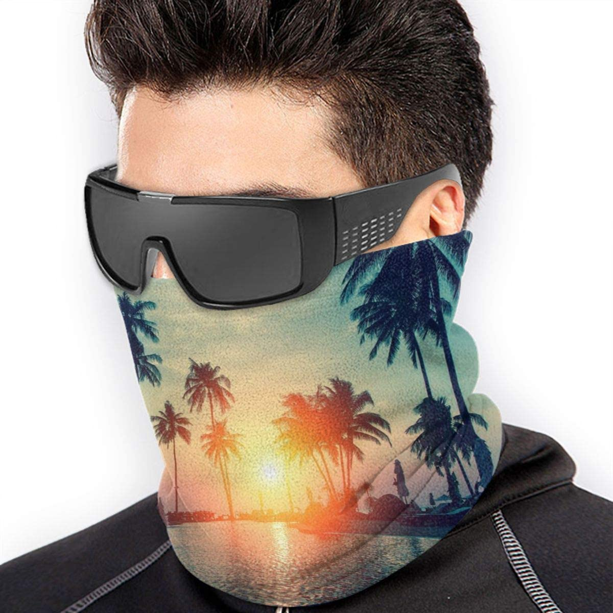 Balaclava Windproof,Anti Dust Magic Scarf for Women Men Neck Gaiter Sunset Palm Trees Tropical Beach Bandana Face Mask