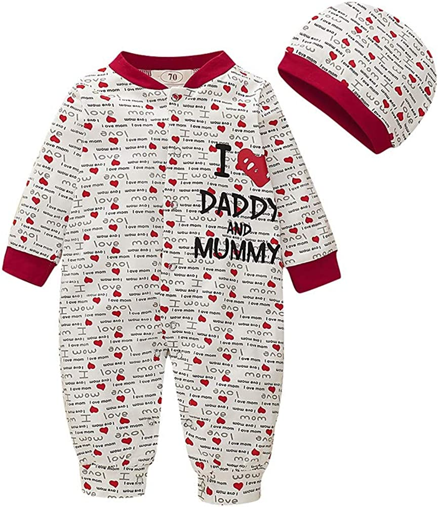 Hongyuangl I Love Daddy and Mummy Letter Full Printing Long Sleeve One Piece Jumpsuit and Cap for 0-18 Months Infant Baby