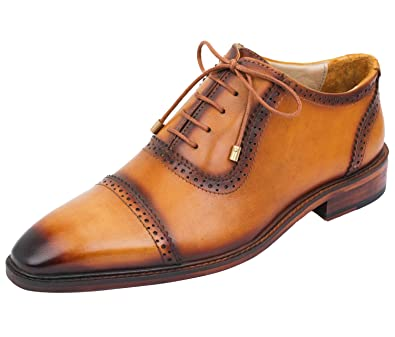 e284b8f60838 Lethato Handcrafted Mens Captoe Oxford Genuine Leather Lace up Boot Style  Shoes with Golden Color Metal