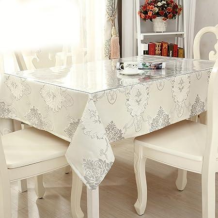 Cristal de PVC blando y lino mantel mesa a prueba de agua funda ...