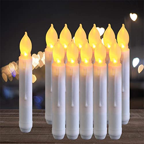 Raycare 12pcs LED Flameless Taper Candles with 6H Timer, 0.79 6.5 Battery Operated Fake Candles with Warm Yellow Flickering Flame, Dripless Candles for Church Themed Party Decorations