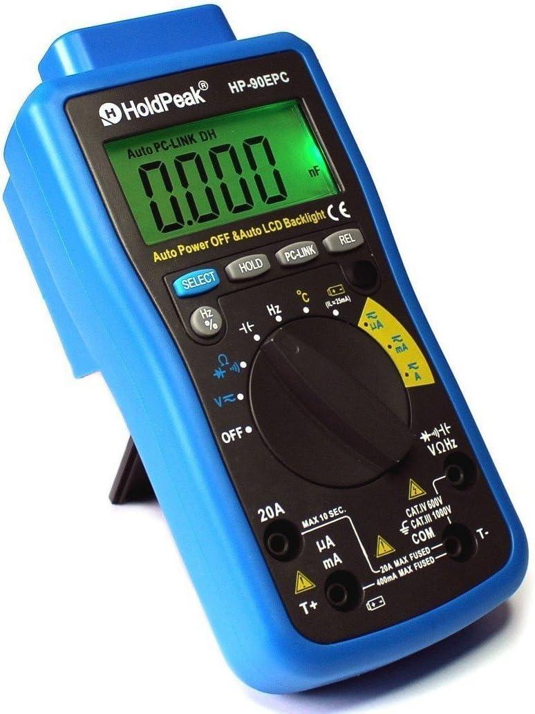 HoldPeak HP-90EPC Digital Multimeter CATIV USB-Anschluss Win10 Software Batterietester Kapazit/ät Frequenz Temperatur Diodentest grau-blau