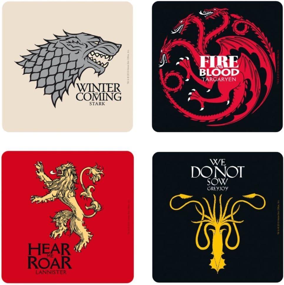 Game of Thrones - Juego de 4 posavasos – Casas – Logo
