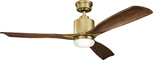 Kichler 300027NBR Ridley II 52 Ceiling Fan with LED Light and Wall Control, Natural Brass