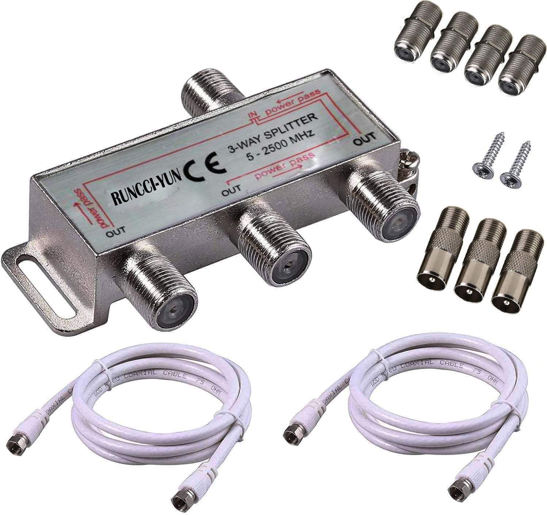 RUNCCI-YUN 3 vías TV Splitter Antena TV Cable de Banda Ancha Splitter Kit 1 Entrada 3 Salida Macho a Hembra Cable Coaxial Adaptador de Divisor con ...