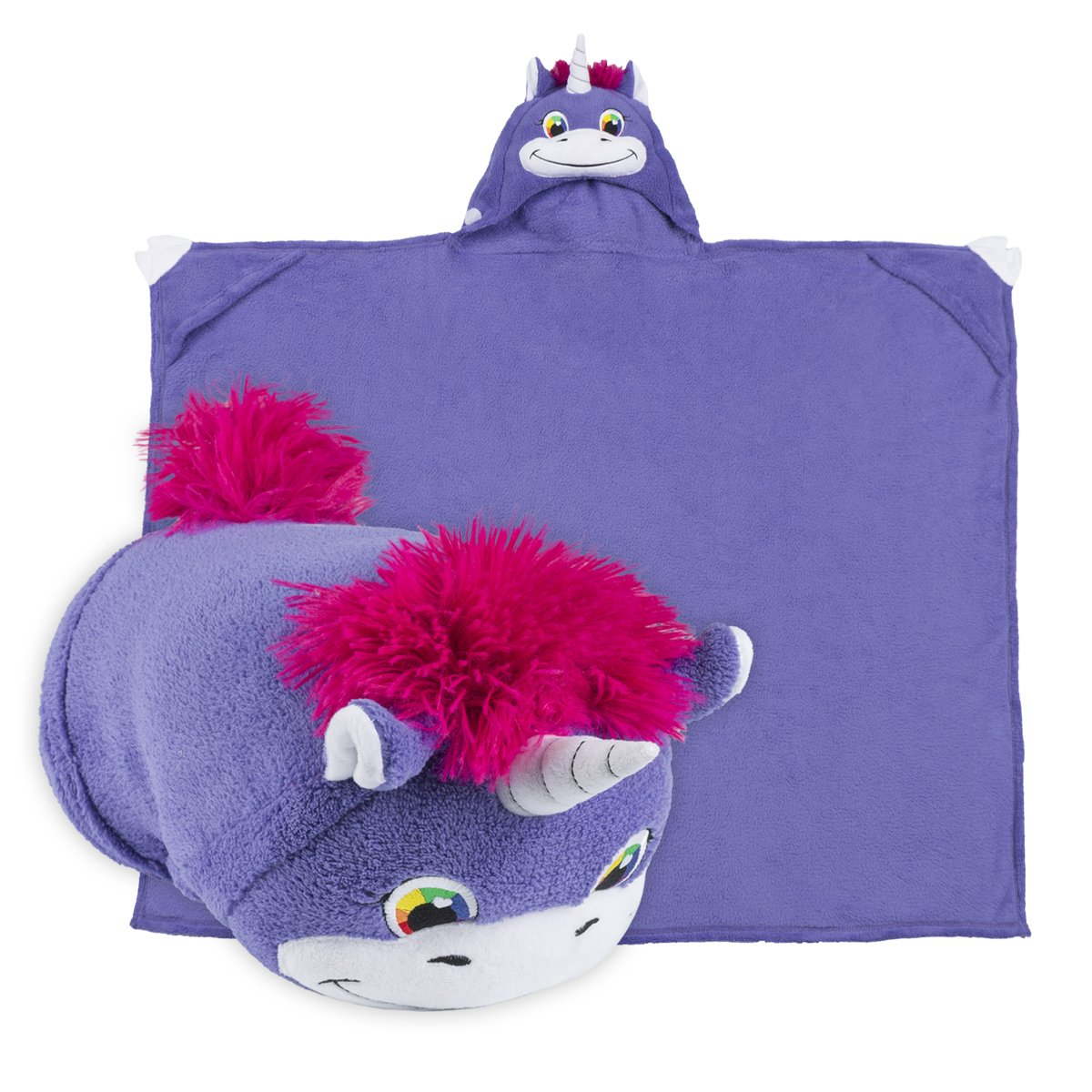 Comfy Critters Stuffed Animal Blanket – Unicorn – Kids huggable pillow and blanket perfect for pretend play, travel, nap time.