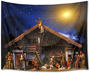 HVEST Christmas Tapestry Wall Hanging Starry Sky Tapestry Jesus Nativity Wall Tapestry Christian Wall Art for Bedroom Living Room Dorm Decor, 92.5Wx70.9H inches