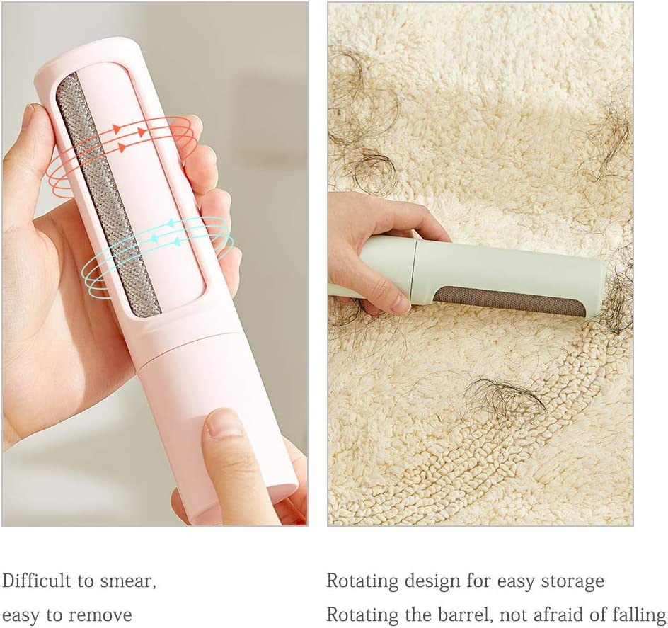Rolin Roly Rotary Cylinder Brush Portable Lint Hair Remover Clothes Manual Lint Shavers Reusable for Pet Hair Fur Clothes Furniture Sweater Roller (White) Pink