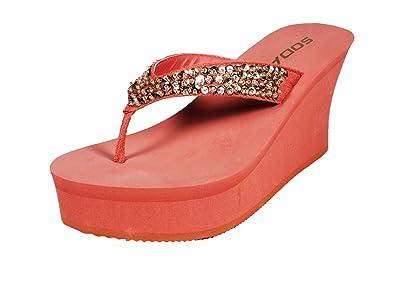 5f267fa87afd Platform Foam Wedge Flip Flop Sandal w Bedazzled Jewels in Classy Colors  (10