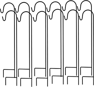Ashman Shepherd's Hooks, Black, Set of 12 Made of Premium Metal for Hanging Solar Lights, Bird Feeders, Mason Jars, Flower Basket, Christmas Lights, Lanterns, Garden Stakes and Wedding Decor