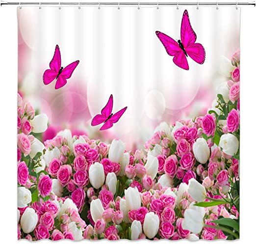 """Lily Fancy Garden Rose Fabric Shower Curtain 70/""""x/""""72 100/% Polyester"""