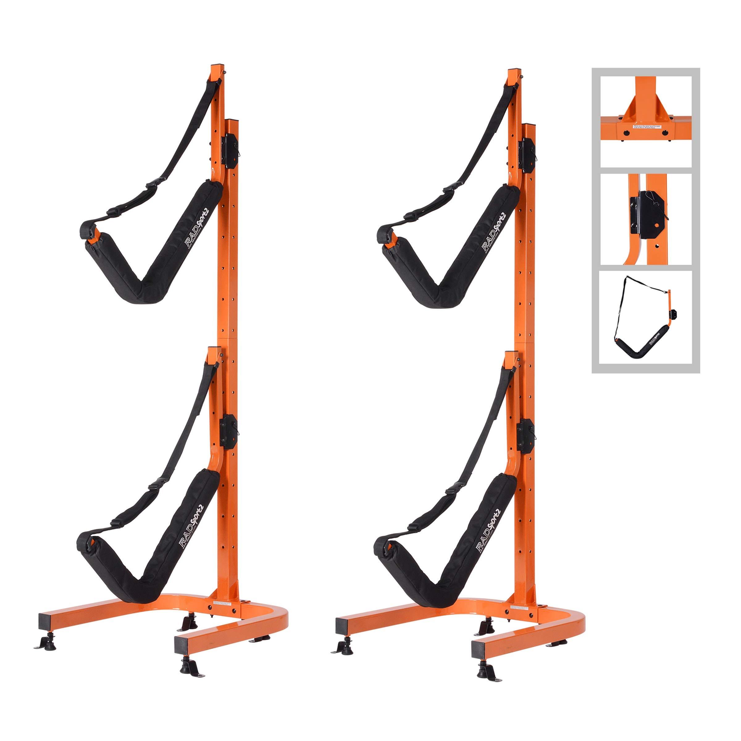 RAD Sportz Double Kayak Storage Rack- Self Standing Dual Canoe Kayak Cradle Set with Adjustable Safety Strap System for Outdoor Indoor Use by RAD Sportz