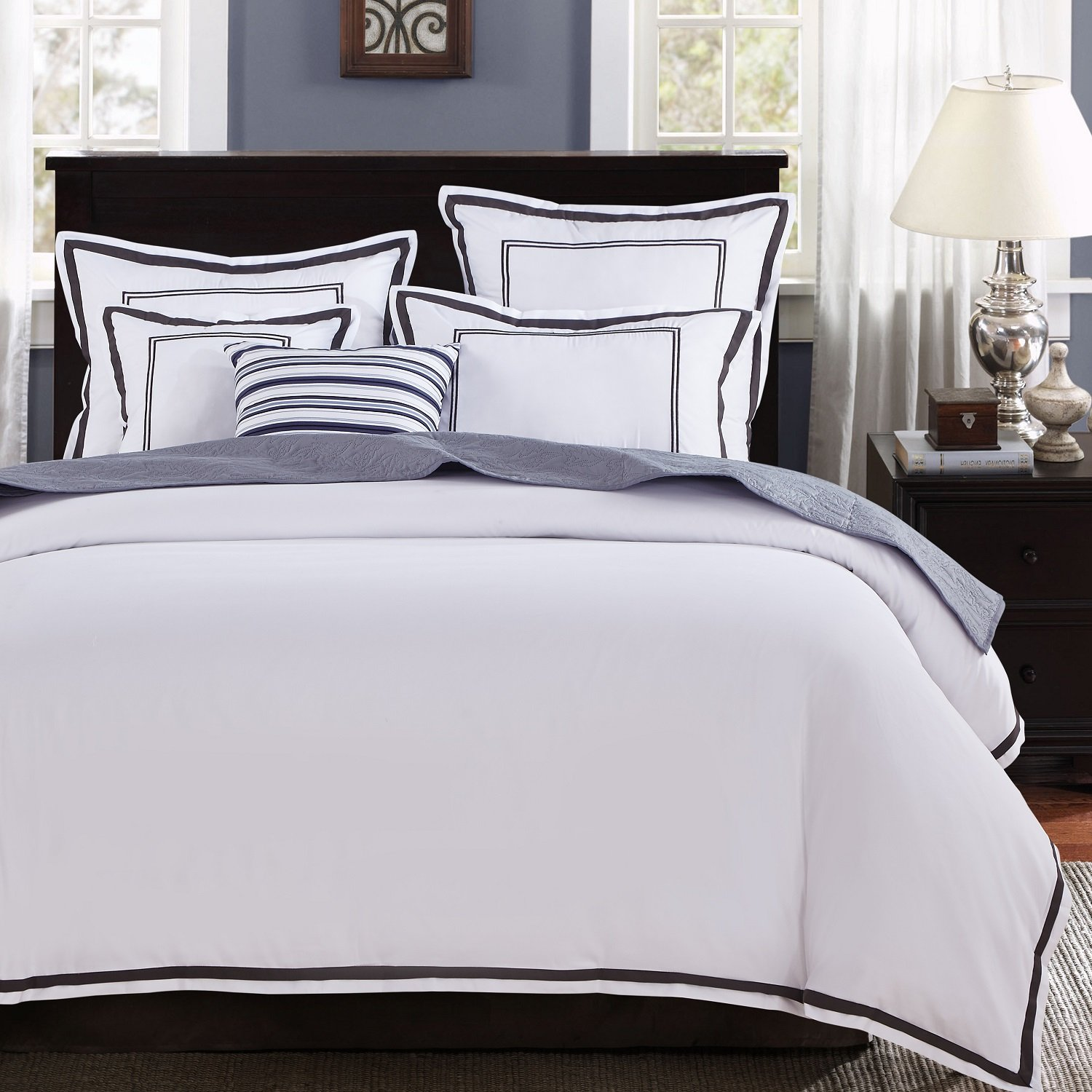 Mellanni Duvet Cover Set Hotel Collection - Double Bedding 3 Piece Full / Queen, Hotel White With Gray Embroidery